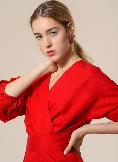 Agenda Balon Kollu Kruvaze Elbise Kırmızı